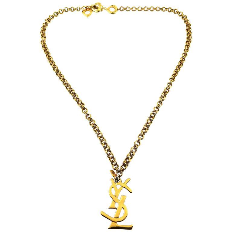 004a67e02d6 Yves Saint Laurent Vintage Chunky Chain Necklace YSL Logo Charm For Sale