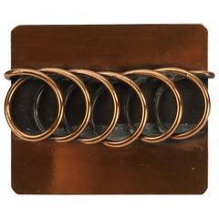 Dynamic Rebajes Mid Century Modern Copper Coil Brooch Pin