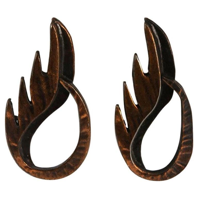 Mid Century Modern Rebajes Flame Pendant Copper Earrings For Sale