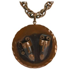 Mid Century Modern Rebajes Comedy and Tragedy Copper Medallion Necklace