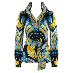 RITA RUSSO c.1970s Blue Yellow Abstract Floral Half Button-Front Blouse + Sash
