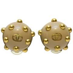 2000's Chanel Beige Studded Earrings