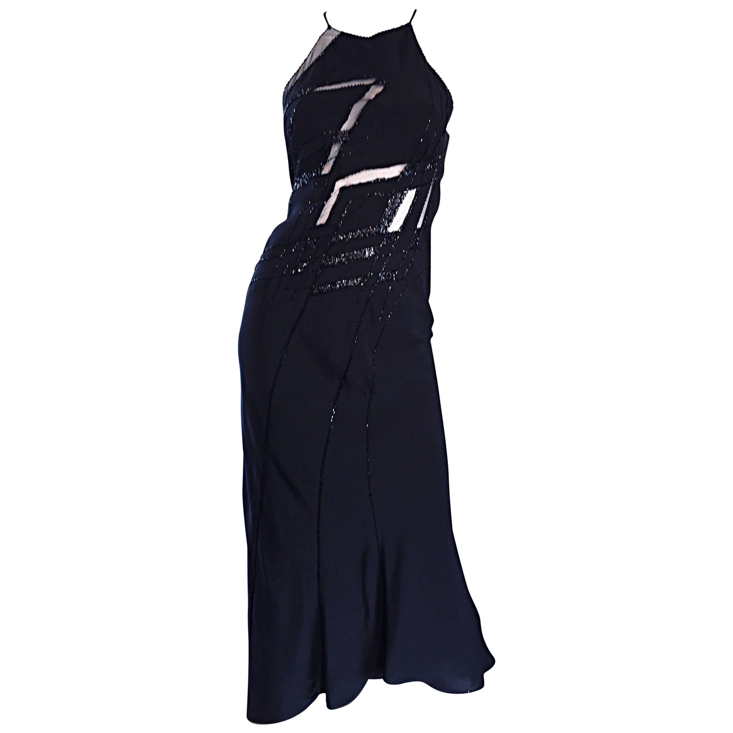 Beautiful Vintage Lillie Rubin Size 8 Cut Out Beaded Handkerchief Dress Size 8