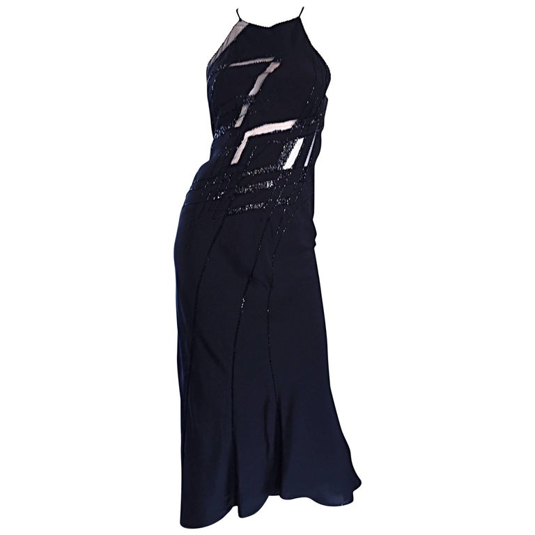 Beautiful Vintage Lillie Rubin Size 8 Cut Out Beaded Handkerchief Dress Size 8 For Sale