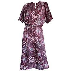 Amazing 1970s 70s Cotton + Silk Op - Art Dolman Sleeve Boho Bohemian Dress