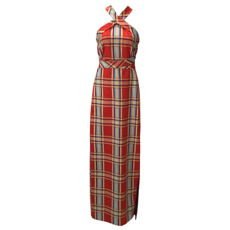 1970s Donald Brooks Plaid Criss-Cross Dress with Matching Scarf