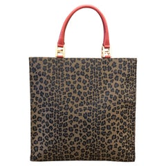Vintage FENDI Leopard Printed Jacquard Book Tote Bag