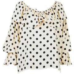 Gorgeous Saint Laurent Silk Polka Dot Print Blouse