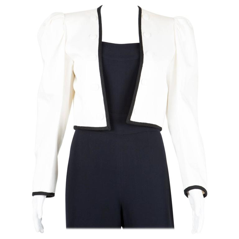 1980s  Saint Laurent White Bolero Jacket