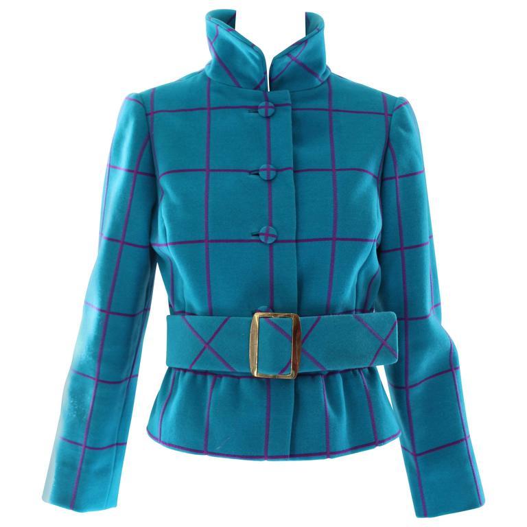 Oscar de la Renta Knit Windowpane Jacket, 1960s