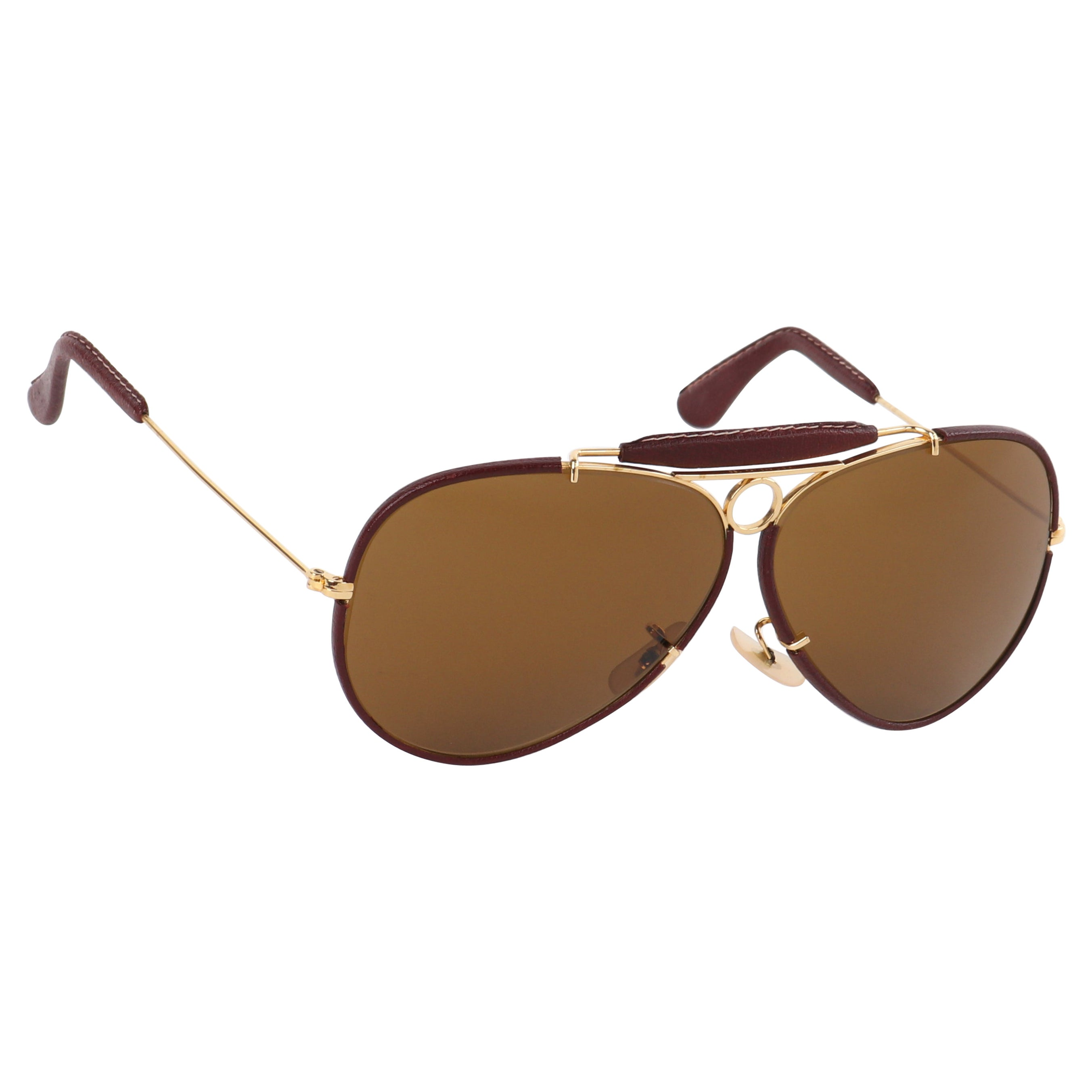 RAY BAN Bausch & Lomb c.1970's Gold Burgundy Leather Aviator Shooter Sunglasses
