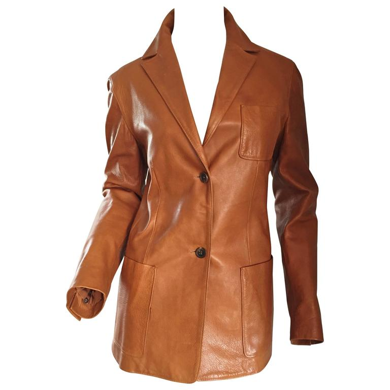 Jil Sander Perfect Vintage 1990s Tan Saddle Leather Jacket Blazer Minimalist  1