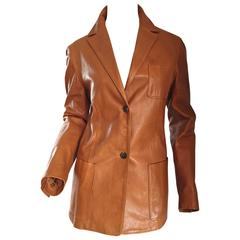 Jil Sander Perfect Vintage 1990s Tan Saddle Leather Jacket Blazer Minimalist