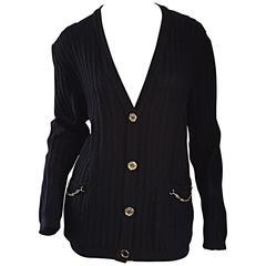 Vintage Celine Black Virgin Wool Ribbed Cardigan Sweater w/ Gold Horsebit Chains