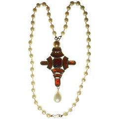 Chanel Byzantine Cross Necklace Poured Glass Faux Pearls Goossens, 1960s