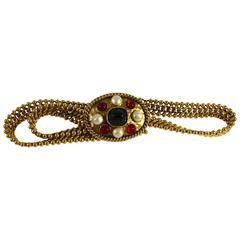 Goossens Chanel Gilt Metal & Pâte de Verre Byzantine Buckle & Chain Belt 70s