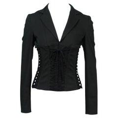 2002 Vintage Dolce & Gabbana Corseted Black Blazer
