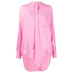BALENCIAGA pink lyocell OVERSIZED NEW SWING Shirt Blouse 36 XS