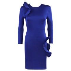 ALEXANDER McQUEEN c.2010 Royal Blue Structured Ruffle Bodycon Dress OOAK Sample