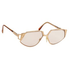 CAZAL c.1990's Gold Tortoise Geometric MOD 238 Pentagonal Cat Eye Sunglasses