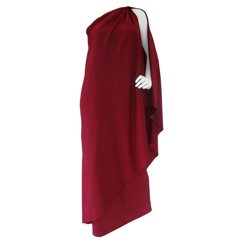 Classic 1980's Halston Red Grecian Jersey Dress