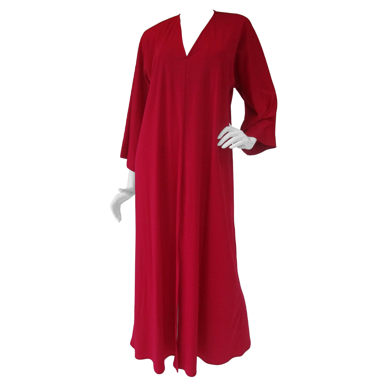 Classic 1980's Halston Red Jersey Caftan / Maxi Dress