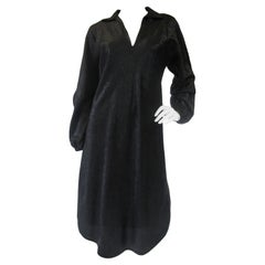 Iconic 1970s Halston Black Silk and Lamé evening dress