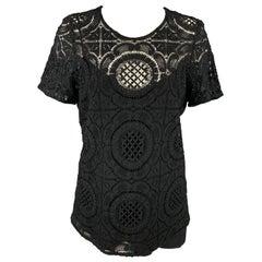 BURBERRY PRORSUM Size 10 Black Cotton / Nylon Dress Top