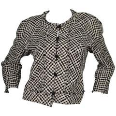 Chanel Black & White Houndstooth Cropped Jacket sz 44