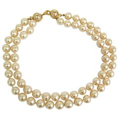 Chanel Double Strand Pearl and Gold CC Logo Charm Choker Necklace