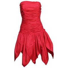 Victor Costa 1980s Red Dress with Petal Skirt