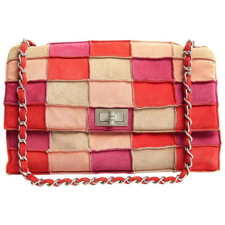 Popular Chanel Pink Suede Patchwork Flap Bag- Multi Color at 1stdibs LT89