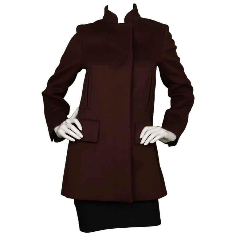 Max Mara Brown Single Breasted Wool Coat sz 6 1