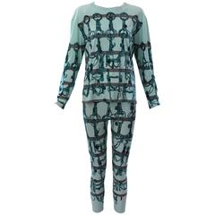 Hermes Cotton Horsebit Print Shirt and Leggings Set