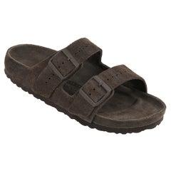 "BIRKENSTOCK Rick Owens Two Strap Arizona Soft Suede ""Velour Dust"" Green Sandals"