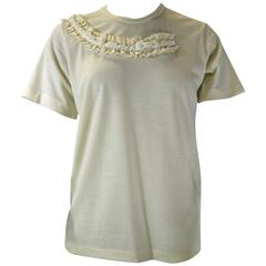 Comme Des Garcons Ruffle Neck Wool T-Shirt