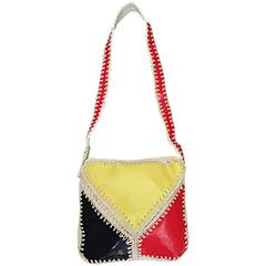 1960s Made in Italy Mod Mondrian Print Red + Blue + Yellow Color Block Bag S