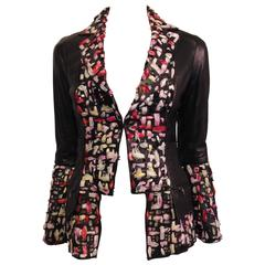 Chanel Black Leather Cutout Jacket with Silk Ribbon