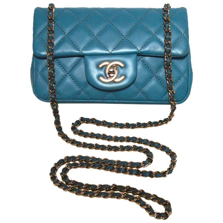 Chanel Teal Leather Extra Mini Classic Flap Shoulder Bag 1