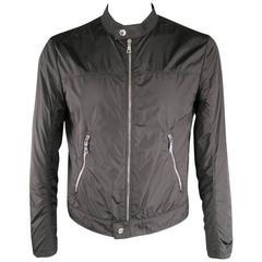 PRADA 40 Black Nylon Windbreaker Moto Style Zip Jacket