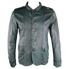 LANVIN Men's 40 Forest Green Leather Button Up Cuffed Jacket