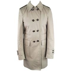 GUCCI Men's 38 Beige Cotton Double Breasted Military Pocket Trenchcoat