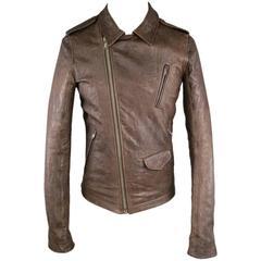 RICK OWENS Men's 38 BrownTextured Leather Diagonal Zip Biker Jacket