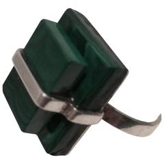 Stacked Malachite Sterling Silver Band from Estate of Charlton & Lydia Heston