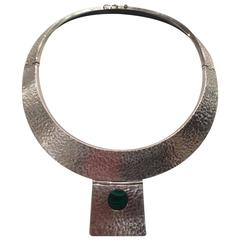 Sterling Silver Collar Necklace with Malachite from the Estate of Lydia Heston
