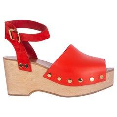 CELINE red leather STUDDED CLOG Sandals Shoes 39