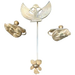 Miriam Haskell Egyptian Revival Stick Pin & Earrings ca 1970