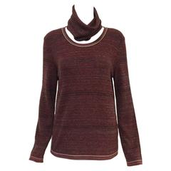 Chanel Cashmere Blend Horizontal Striped Pullover With Optional Turtleneck