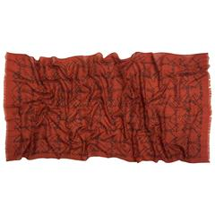 Chanel Rust Silk and Wool Signature Scarf