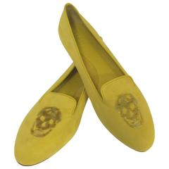 New Alexander McQueen Spanish Olive Suede Slippers With Sequined Skulls